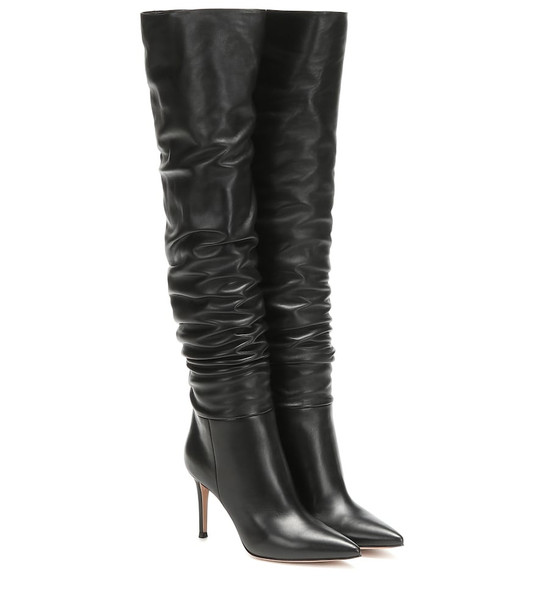 Gianvito Rossi Valeria 85 over-the-knee leather boots in black