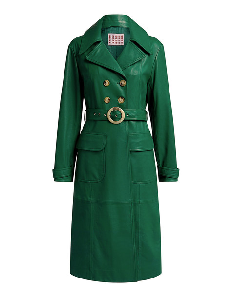 Alexa Chung Fitted Knee Length Leather Coat Green