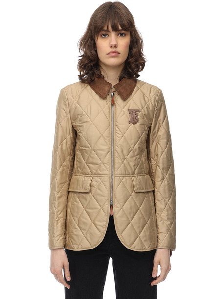 BURBERRY Tb Logo Quilted Nylon Jacket in beige