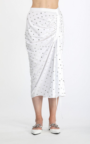 N°21 Ruched Crystal-Embellished Cotton Midi Skirt in white