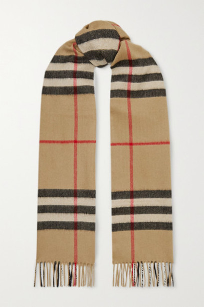 Burberry - Fringed Checked Cashmere Scarf - Brown