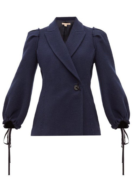 Brock Collection - Pandolfi Double Breasted Bouclé Jacket - Womens - Navy