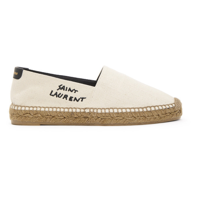 Saint Laurent Off-White Embroidered Logo Espadrilles in black / ecru