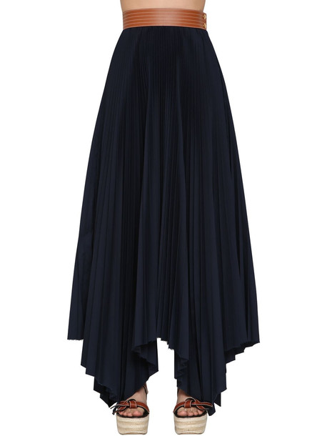 LOEWE High Waist Pleated Cotton Twill Skirt in blue