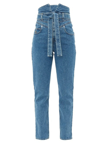 The Attico - Paperbag-waist Slim-leg Jeans - Womens - Denim