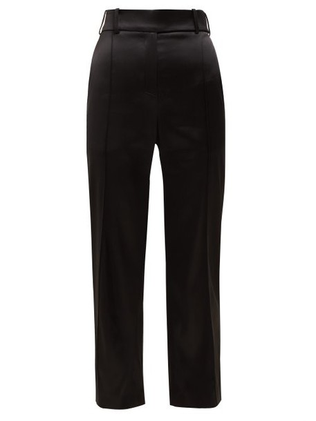 Alexandre Vauthier - Slim Fit Satin Trousers - Womens - Black