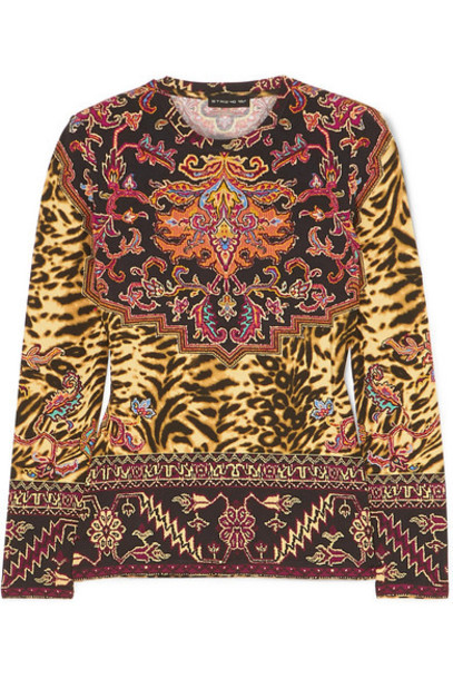 Etro - Printed Stretch-jersey Top - Beige