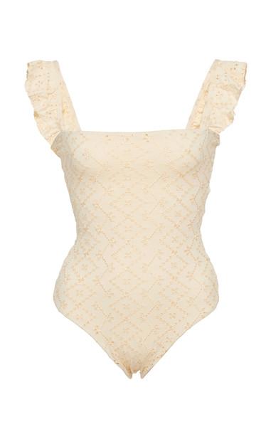 Agua by Agua Bendita Nativa Broderie Ruffled One-Piece Swimsuit Size: in neutral