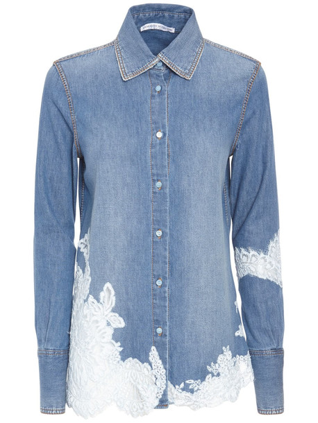 ERMANNO SCERVINO Cotton Denim Jeans W/embroidered Details