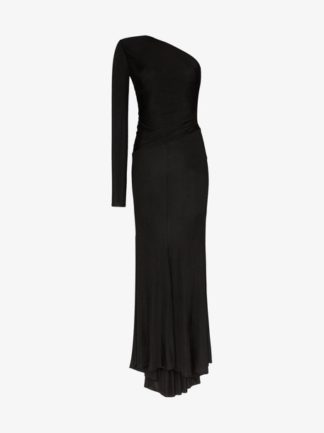 Alexandre Vauthier One-shouldered semi-sheer gown in black