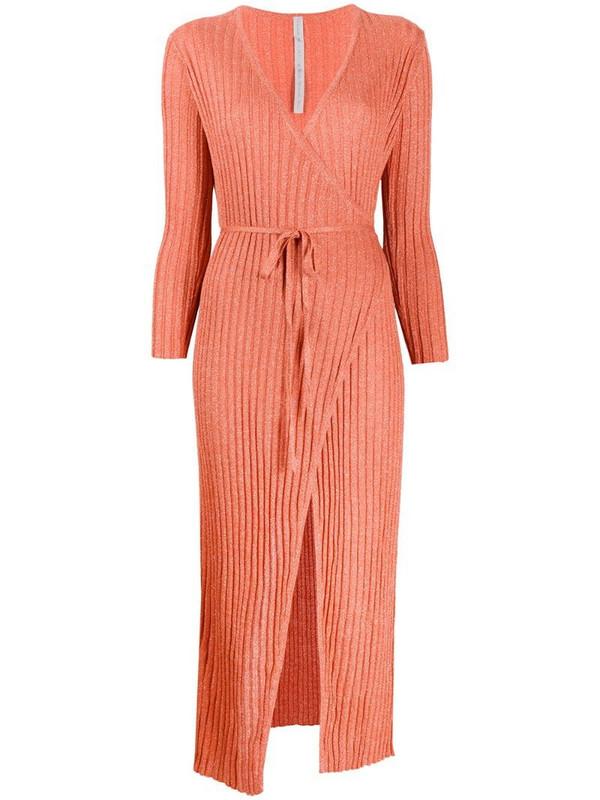 Antonella Rizza ribbed-knit wrap dress in orange