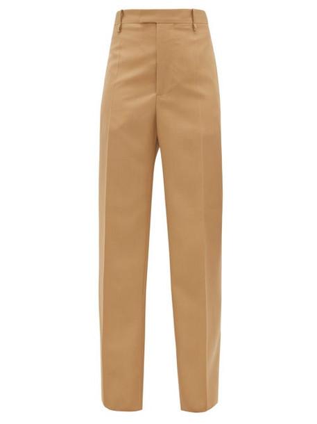 Bottega Veneta - High-rise Wool-twill Straight-leg Trousers - Womens - Camel