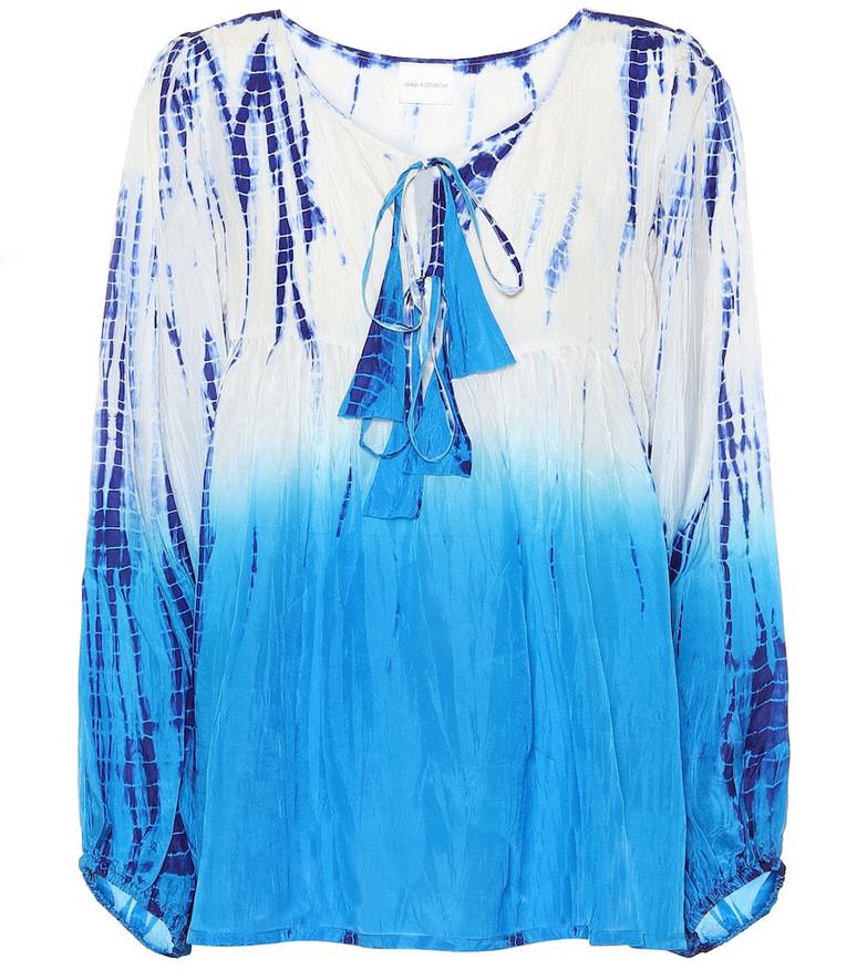 Anna Kosturova Tie-dye silk top in blue