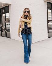 jacket,leather jacket,flare jeans,white bag,black turtleneck top,polka dots