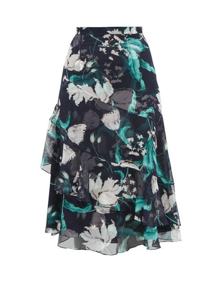 Erdem - Zennia Leighton Tulip Print Flounced Silk Skirt - Womens - Navy White