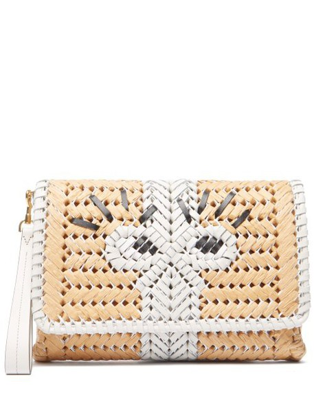 Anya Hindmarch - The Neeson Leather And Straw Clutch - Womens - White Multi