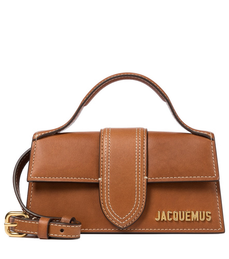 Jacquemus Le Bambino Medium leather shoulder bag in brown