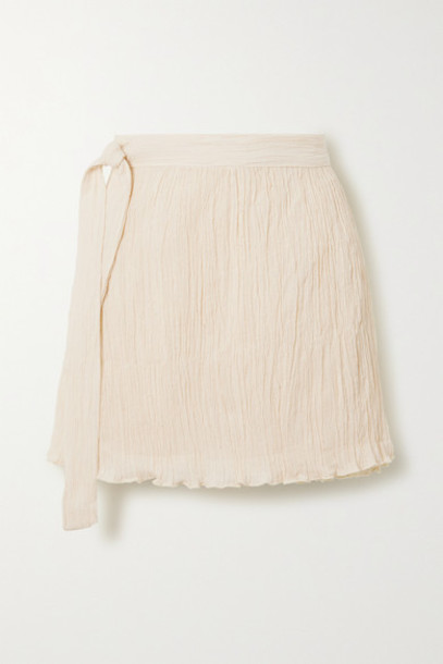 Savannah Morrow The Label - The Hayi Crinkled Organic Cotton-gauze Wrap Mini Skirt - Cream