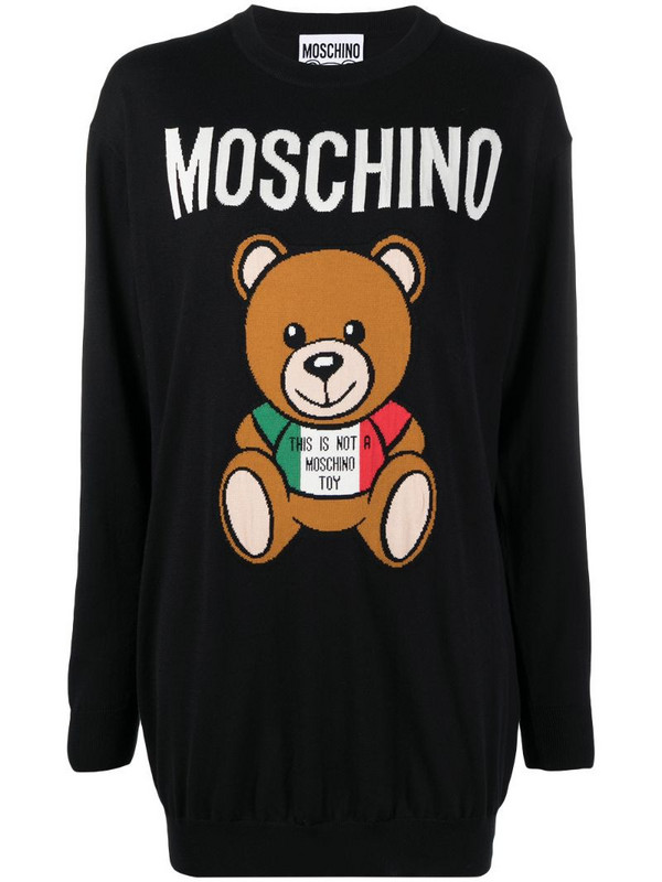 Moschino logo-print bear-motif sweater dress in black