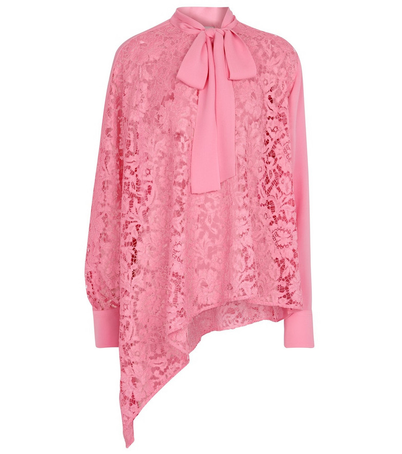 Valentino Caped floral-lace silk blouse in pink