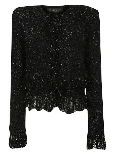 Balmain Frayed Jacket in noir