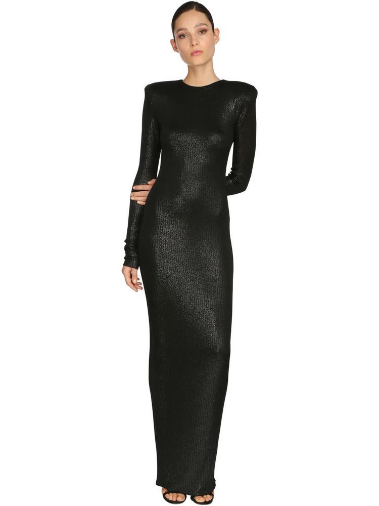 ALEXANDRE VAUTHIER Rib Jersey Lamé Long Dress in black