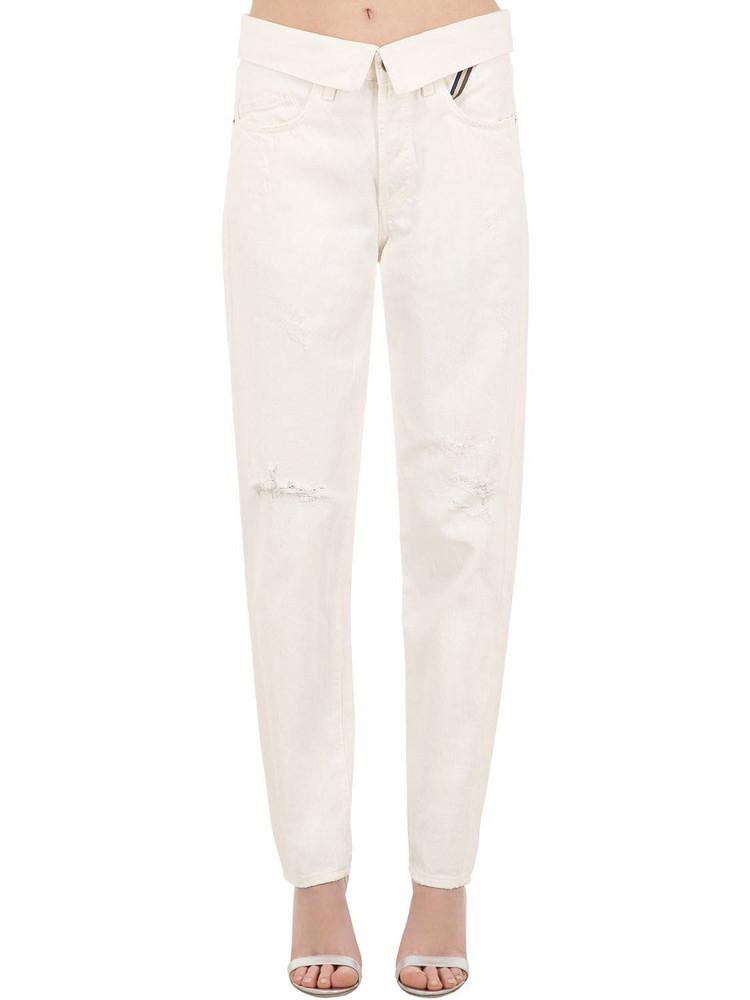JEAN ATELIER High Waist Straight Cotton Denim Jeans in white