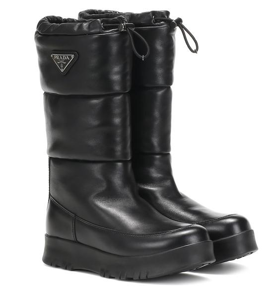 Prada Platform leather boots in black
