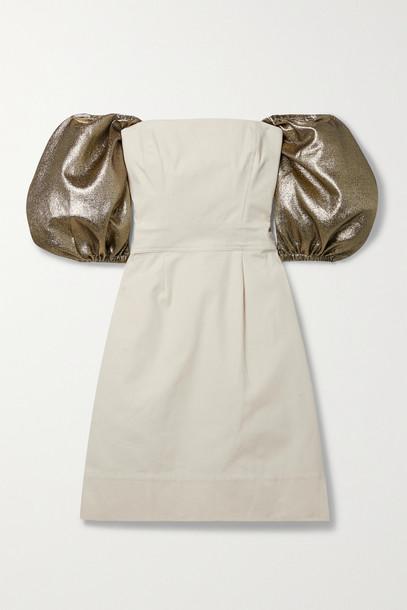 ARTCLUB - + Net Sustain Castello Convertible Lurex-trimmed Cotton-canvas Mini Dress - Neutrals