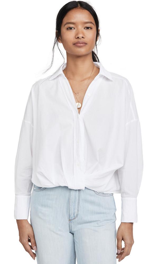 Stateside Poplin Twist Front Shirt in white