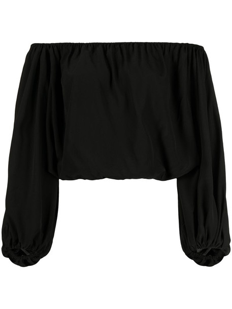 Federica Tosi off shoulder cropped blouse in black