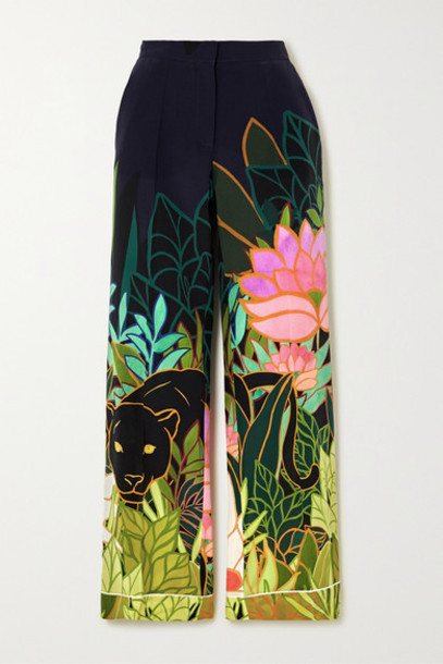 Valentino - Printed Silk Crepe De Chine Wide-leg Pants - Navy