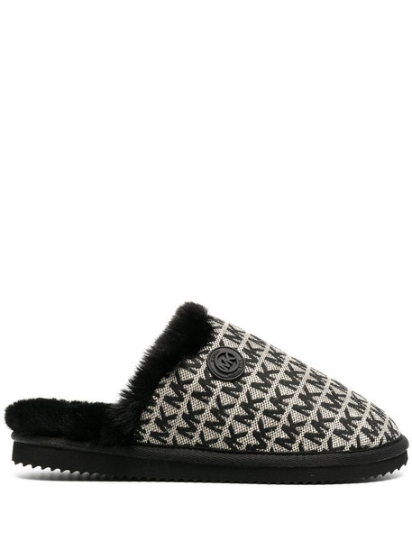 Michael Michael Kors Janis logo jacquard slippers in black