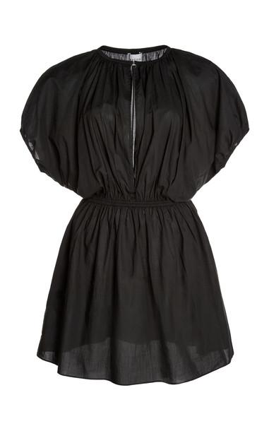 Matteau Cocoon Cotton Voile Mini Dress in black