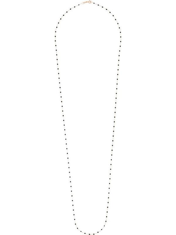Gigi Clozeau 18kt rose gold 86cm beaded necklace in black