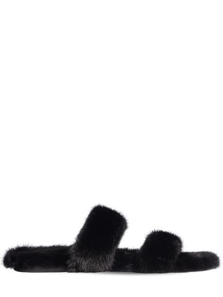 SAINT LAURENT 10mm Bleach Fur Slide Sandals in black