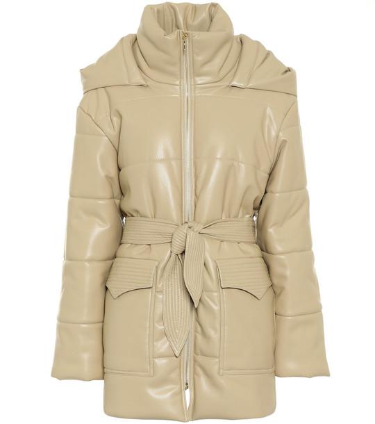 Nanushka Lenox faux leather coat in beige