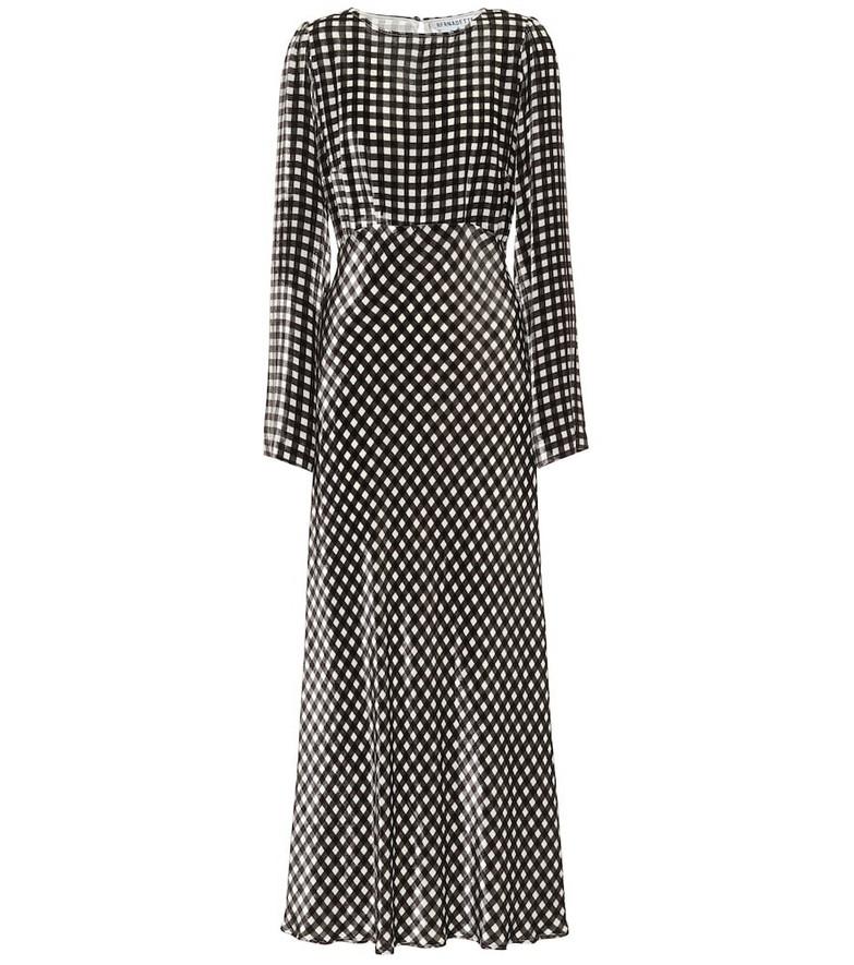 Bernadette Jane gingham velvet midi dress in black