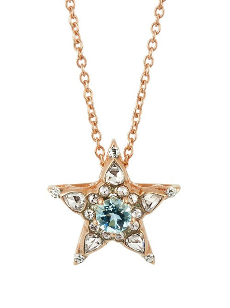 Selim Mouzannar - Istanbul Diamond, Aquamarine & 18kt Gold Necklace - Womens - Pink Gold