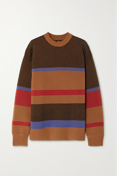 Nagnata - Lucid Striped Ribbed Organic Cotton Sweater - Red