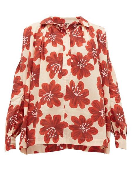 Dodo Bar Or - Vyan Floral Print Cotton Top - Womens - Cream Print