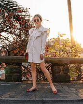 shoes,ballet flats,shirt dress,bag