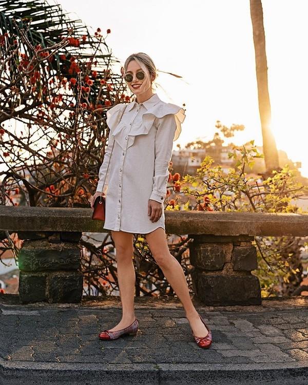 shoes ballet flats shirt dress bag