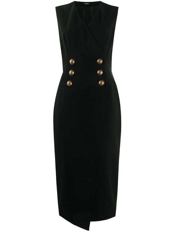 Balmain double-breasted mid-length dress in black
