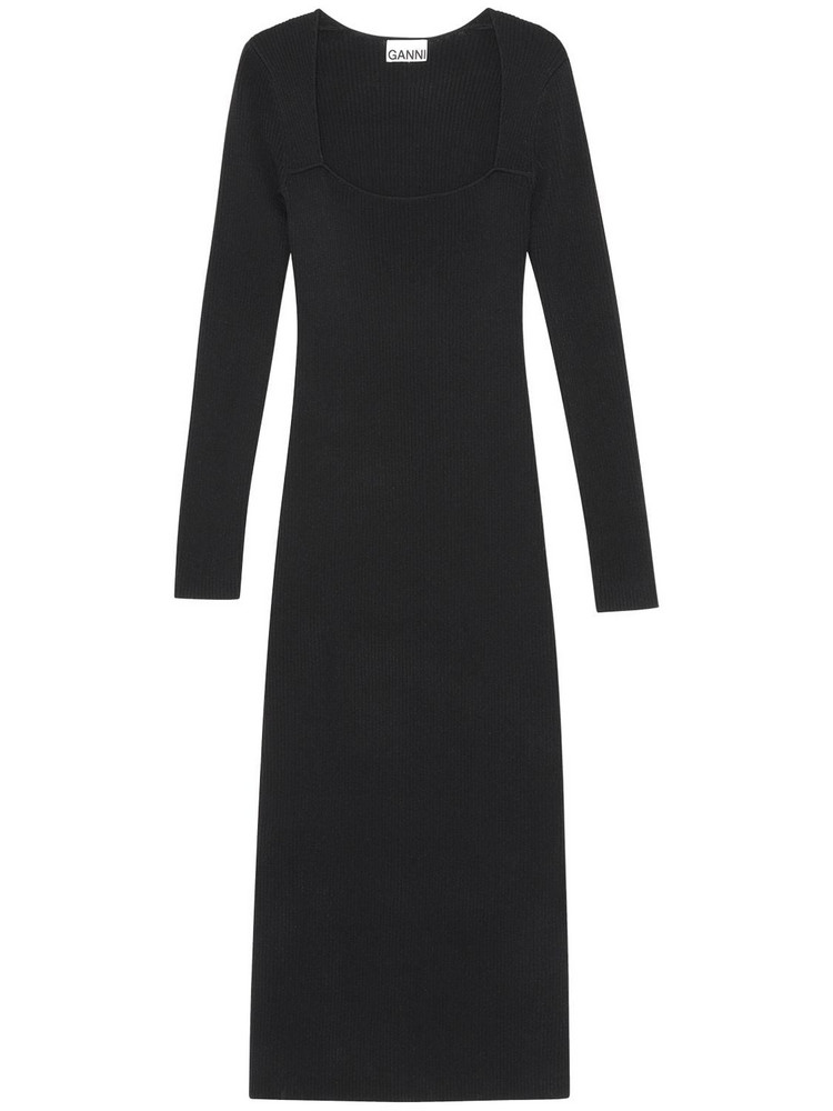 GANNI Melange Knit Midi Dress in black