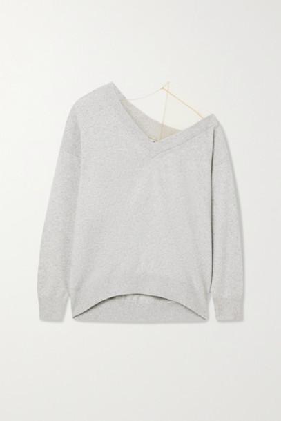 Alexander Wang - Asymmetric Tulle-trimmed Wool-blend Sweater - Light gray
