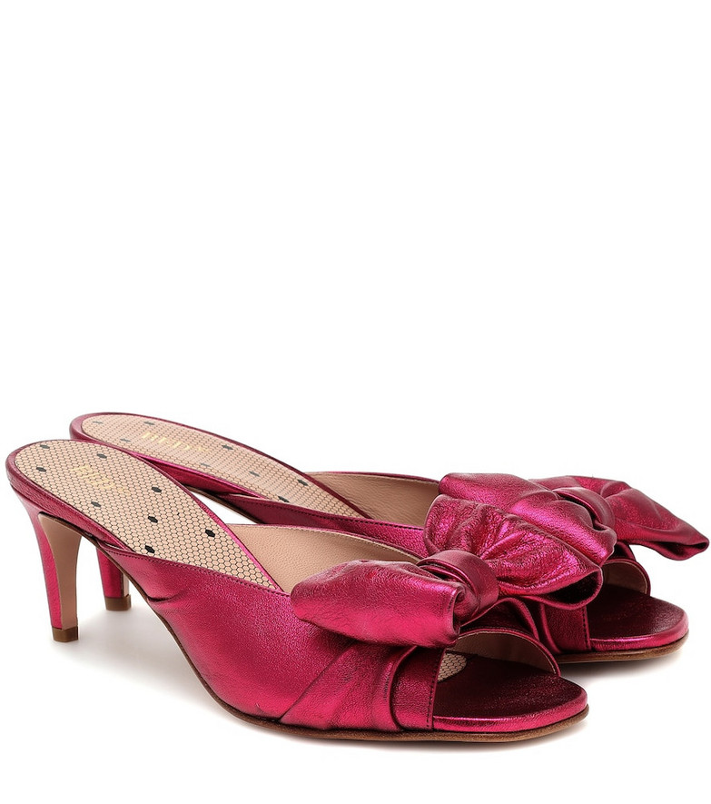 RED (V) RED (V) metallic leather sandals in pink