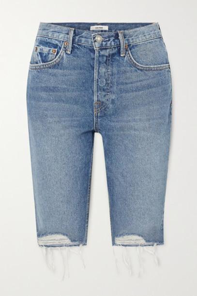 GRLFRND - Beverly Distressed Denim Shorts - Mid denim