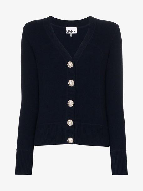 GANNI Crystal button wool cardigan in blue