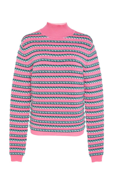 Rosie Assoulin Ottoman Stripe Mock Neck Wool Sweater Size: L in pink